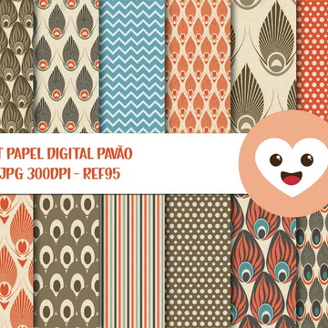 Kit Papel Digital Imagem Pavão Penas Vintage Scrap mod95