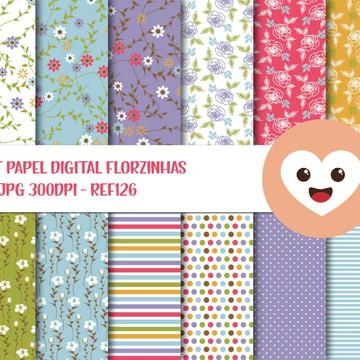 Kit Papel Digital Imagem Florzinhas Shabby Chic mod126