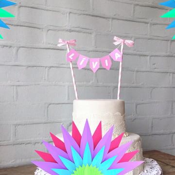 Mini Bandeirinhas para bolo Festa CHIC VARAL Sob medida