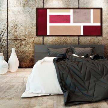Quadro Horizontal Abstrato Geométrico Vermelho Marrom B