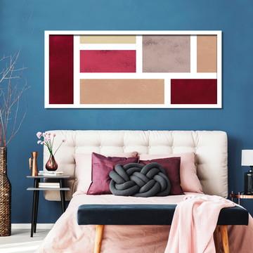 Quadro Horizontal Abstrato Geométrico Vermelho Marrom C