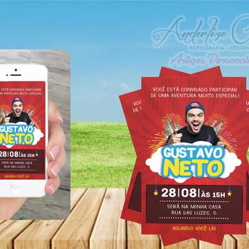 convite arte digital (virtual) tema LUCCAS NETO