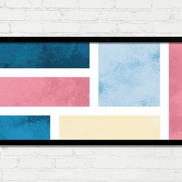 Quadro Horizontal Abstrato Geométrico Branco Azul Rosa A