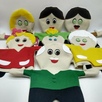 Fantoches Família Branca Feltro