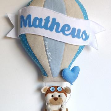 Enfeite de Porta Maternidade Ursinho no Balão