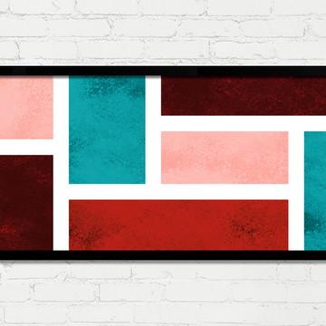 Quadro Horizontal Abstrato Geométrico Turquesa Vinho A