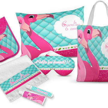 4 Kits Festa do Pijama Flamingos peças
