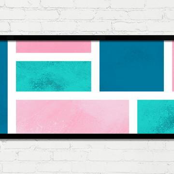 Quadro Horizontal Abstrato Geométrico Azul Rosa Verde A