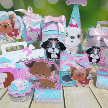 Kit festa personalizada cachorrinhos menina