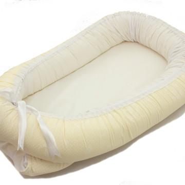 Ninho Redutor De Berço Para Bebe coroa palha +branco