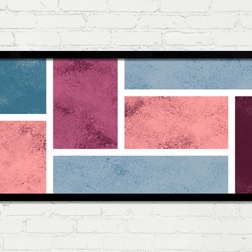 Quadro Horizontal Abstrato Geométrico Vinho Rosa Azul A