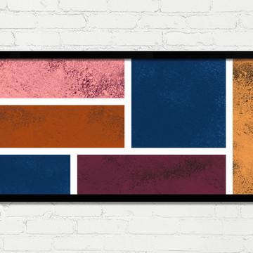 Quadro Horizontal Abstrato Geométrico Marrom Rosa Branco A