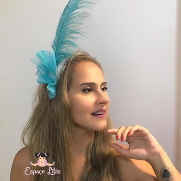 Tiara pluma e penas carnaval