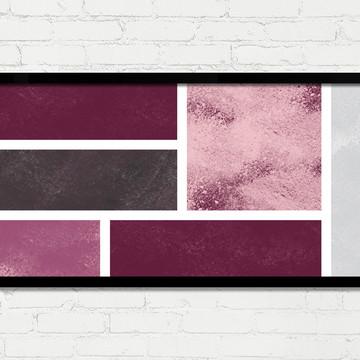 Quadro Horizontal Abstrato Geométrico Rosa Vinho Cinza A