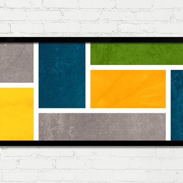 Quadro Horizontal Abstrato Geométrico Amarelo Verde Cinza A