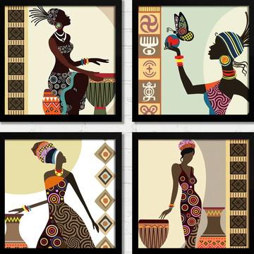 Quadros Africanas Cultura Estilo Batuque Moldura e Vidro A