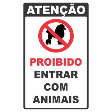 Adesivo Proibido Entrar com animais 20x13cm a142