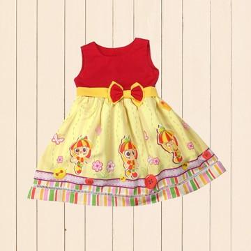 Vestido Temático Emília Amarelo Festa Aniversario Infantil
