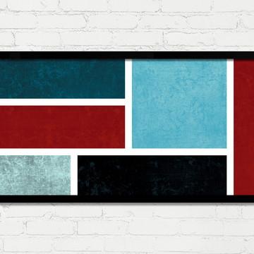 Quadro Horizontal Abstrato Geométrico Vermelho Azul Preto A