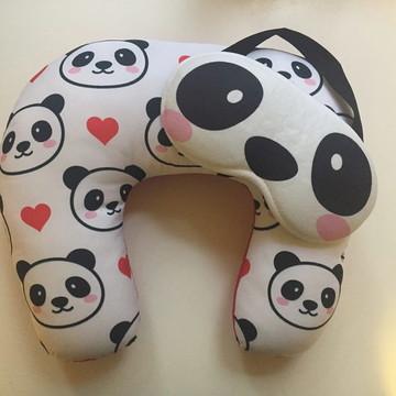 Almofada Pescoço + Máscara: Panda