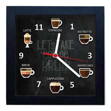 Relógio De Parede Decorativo Caixa Alta Tema Café