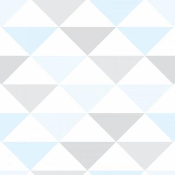 Papel de Parede Quarto Bebê Menino Azul Branco e Cinza 10M