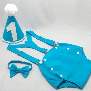 Roupa Azul Celeste Menino Smash the Cake 1 ano com chapéu