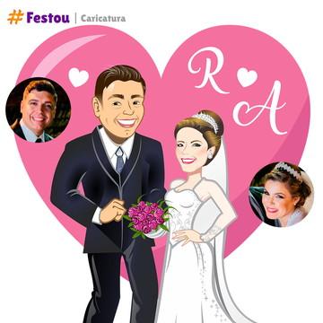 Caricatura Casamento - Casal de Noivos