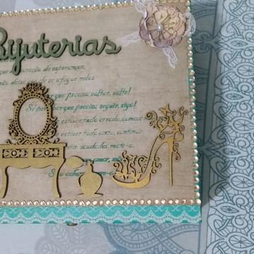 Caixa de Bijuterias em Mdf com 1 Gaveta e divisória