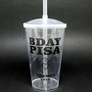 Copo Twister Cristal Personalizado - BDAY PISA