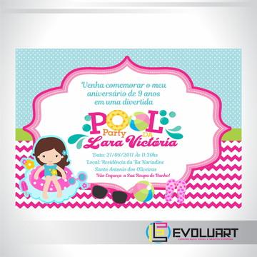 Convite Pool Party Menina