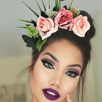 Tiara Carnaval,Rosas cor de rosa ,Arco,Arranjo