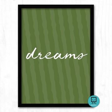 """Quadro decorativo """"Dreams"""" - 32x24cm - Estampa em tecido"""