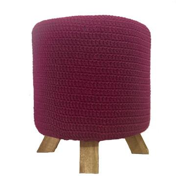 Puff Decorativo com capa em Crochê Cor