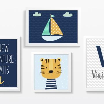 Quadro decoração infantil menino tigre e barco - A4