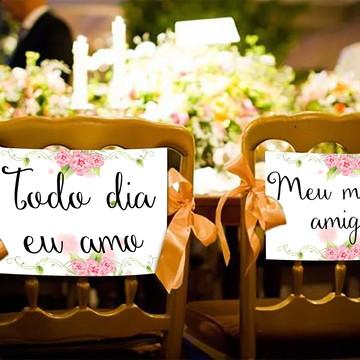 Casamento - Placas Decorativas Cadeira Noivos - Todo Dia