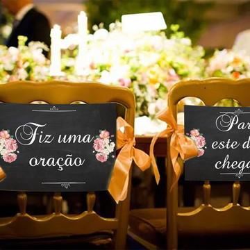 Casamento - Placas Decorativas Cadeira Noivos - Fiz Uma