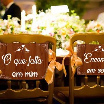 Casamento - Placas Decorativas Cadeira Noivos - O Que Falta