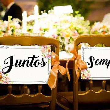 Casamento - Placas Decorativa Cadeira Noivos - Juntos Sempre