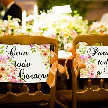 Casamento - Placas Decorativas Cadeira Noivos - Com Todo