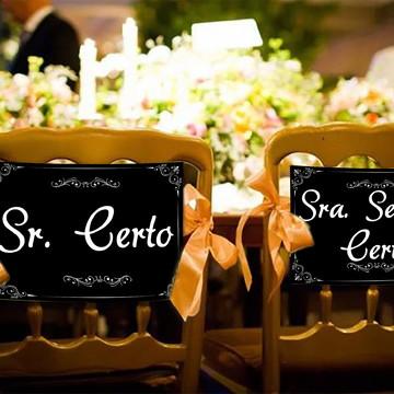Casamento - Placas Decorativas Cadeira Noivos - Sr. Certo