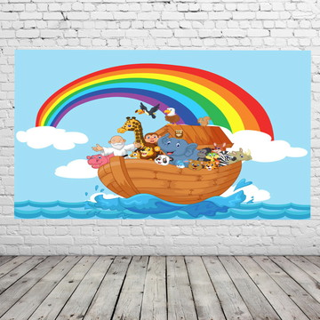 painel de festa arca de Noé