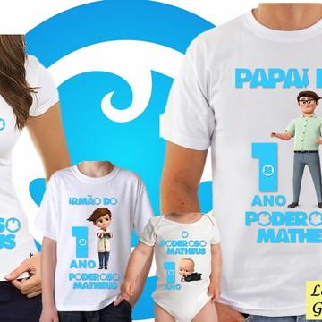 KIT Camiseta aniversario do Poderoso Chefinho 4 unidades