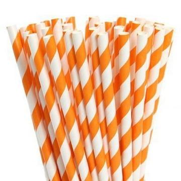 320 canudos de papel laranja