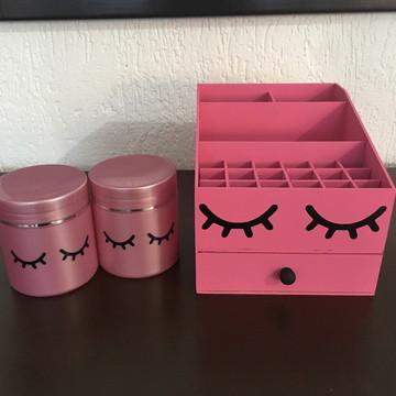 Kit Organizador maquiagem cílios rosa
