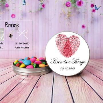 Lembrancinha de casamento latinha personalizada Digitais