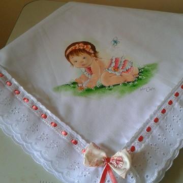 cueiro de flanela com pintura de menina