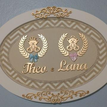 Quadro Porta Maternidade para Gêmeos
