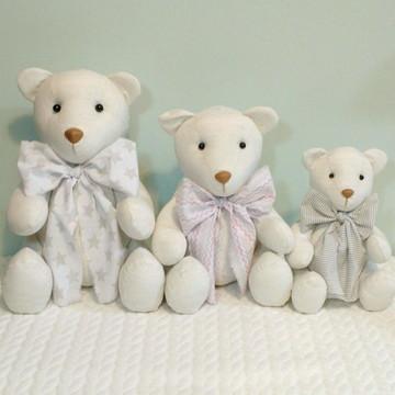 Trio de Ursos em linho para nicho