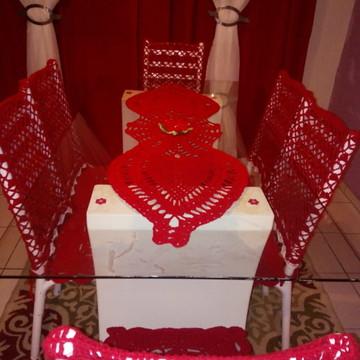 Jogo de croche mesa e cadeiras